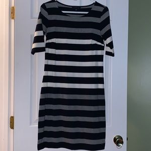 Navy blue, white and gray striped dress.